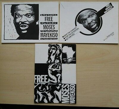 LOT OF 3 FREE MOSES MAYEKISO 1980s Political Protest Greetings Cards, Ephemera