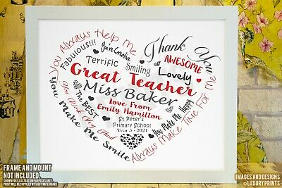 Personalised TEACHER THANK YOU Thank You Gift Word Leaving School Present Heart