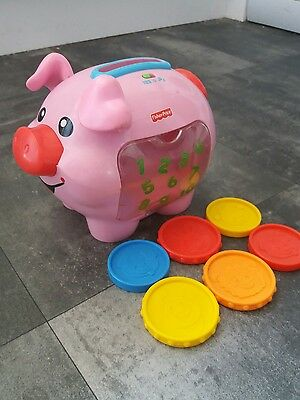 Fisher Price Piggy Bank & 6 Coins