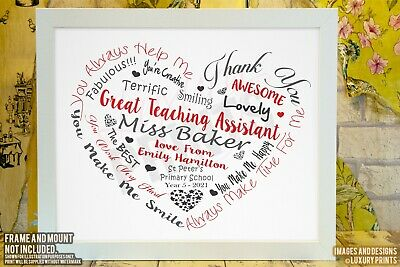 Personalised TEACHING ASSISTANT THANK YOU Heart Gift Word Leaving School Present