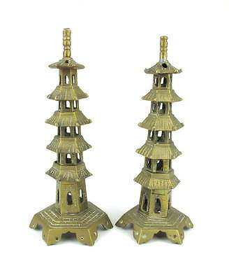 Pair of Antique Chinese Brass Pagoda Stands