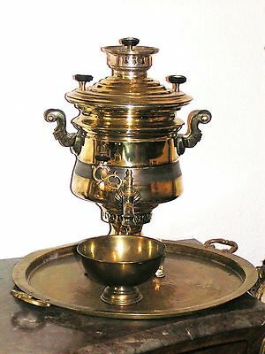 Antique Empire , Rare Russia  Steam  Brass Samovar - Petrov 1850