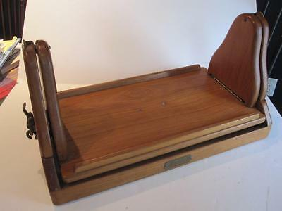 Vtg Gimballed Teak Boat Tray Table - Belcov Yacht Carpentry Annapolis Fold Down