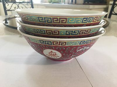 Chinese Antique Larger Soup Bowls. Set of 3