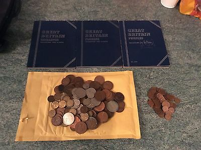 British coin job lot part complete Whitman folders and loose coins