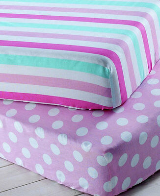 2 x CHAD VALLEY Toddler Fitted Sheets Stripe & Spot Pink Girls Bed Bedding Set