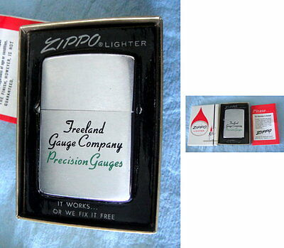 1962 ZIPPO Cig Lighter: FREELAND GUAGE CO; PRECISION GAGES; Orig Box & Papers