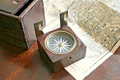 Smart Early c19th Georgian Paper Dial Compass, Suspension Hooks, Oak Case