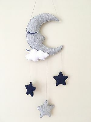 Grey navy sleepy moon stars cloud hanging nursery mobile wall decoration baby