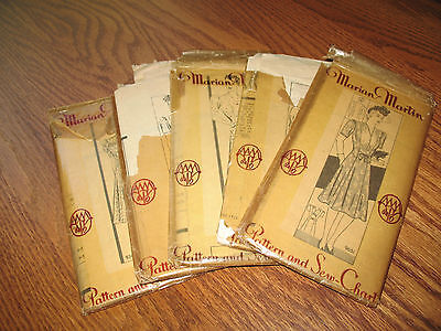 LOT of FIVE Forties VINTAGE SEWING PATTERNS Lovely Details WOMEN'S DRESSES Lg Sz