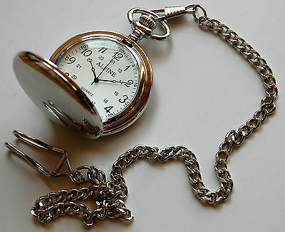 """Men's Pocket Watch with Silver tone 14"""" chain & clip + FREE Battery. UK Seller"""