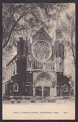 Circa 1944 Vintage Postcard Grace Lutheran Church WADSWORTH Ohio United States