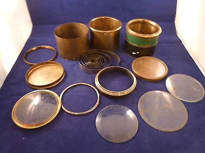 Collection of Brass Clock Parts for Spares,Bezels,Glass,Sleeves,Rear Dust Covers