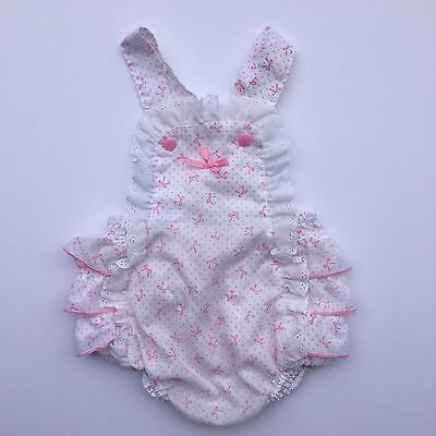 Vintage Stone Wear Ruffle Romper 9 Months Pink Bows Sunsuit Frilly Butt Playsuit