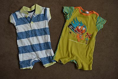 2x All in One, Short Sleeve, Boy Rompers 0-3 months