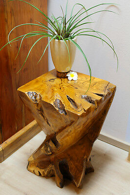 Teak Root Wood Side Table Stool Solid Fine Wood Podium Deco Columns Table