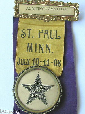 1908 Convention Ribbon The North Star Benefit Assn Moline Il Held In  St.paul Mn