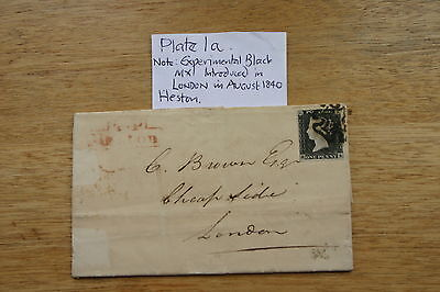 QV Penny Black Plate 1a on cover.