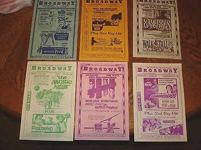 6 Vintage Circa Early 1960's Broadway Theater Baltimore Coming Attraction Flyers