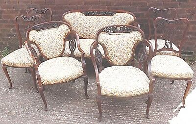 Rare Beautiful 7 Piece Antique Victorian Salon Suite Mahogany With Sofa & Chairs