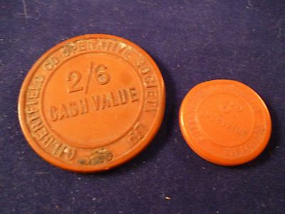 2 Vintage Gilbertfield Co-op Society Tokens, 2/6 and 6d,  Lanarkshire, Scotland