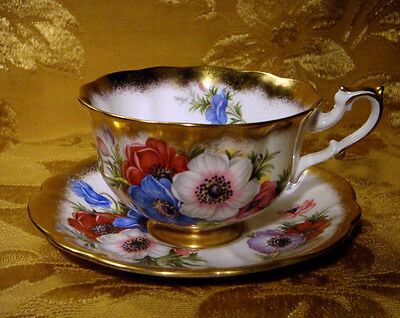 Royal Albert *gold Crest* Series Anemone Flowers Cup & Saucer Made In England