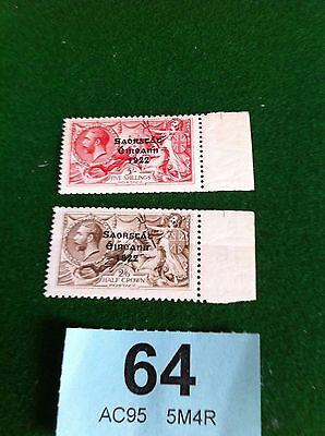 Ireland 1922 Overprints on GB, 2/6d & 5/- unmounted mint ?? SG 64/5 or  86/7  64