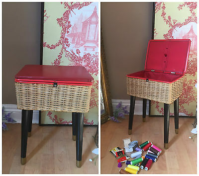 Vintage Sewing Box Work Basket Red Vinyl Retro on Dansette Legs & Contents