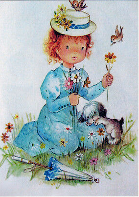 Repro of old card GIRL IN HAT WITH PUPPY BIRDS AND UMBRELLA Modern Russian card