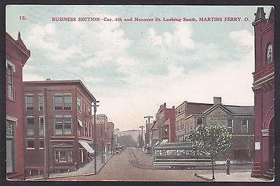 C 1908 Vintage Postcard Business Section Cor 4th & Hanover St MARTINS FERRY OH