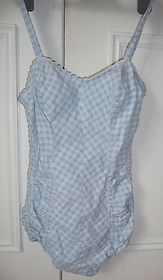 True Vintage 1950's swimming costume blue & white cotton gingham size 10/12