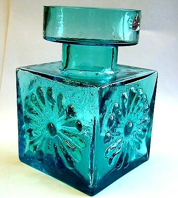 Vintage 1960s - 1970's Darting Blue Glass Vase. Good Condition.
