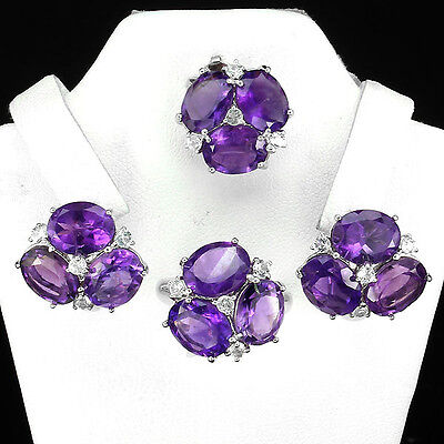 Natural Amethyst  White Topaz Earrings Ring Pin 925 Sterling Silver Pansy Set