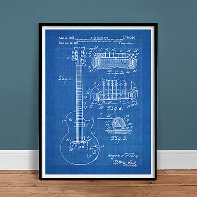 GIBSON LES PAUL GUITAR US PATENT PRINT 18X24 POSTER VINTAGE REPRO NEW GIFT 1950s