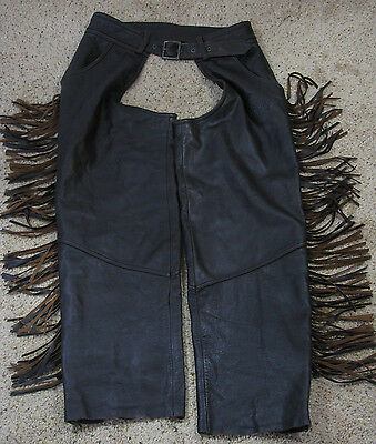 HARLEY DAVIDSON Brown Leather Fringe Zip Out Motorcycle Pants Chaps, Women's L