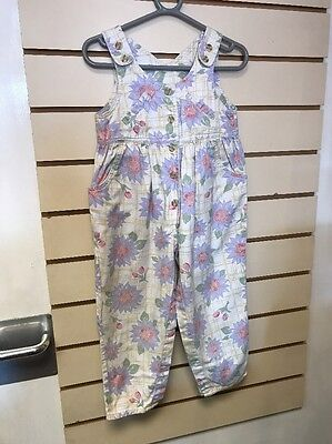 Girls Vintage Tesco Dungarees Floral Summer Baggy Fit 2-3 Years