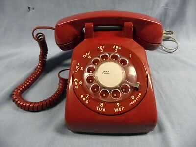 Vtg Bell System Western Electric Red Rotary Modular Desk Phone Tested Works Well