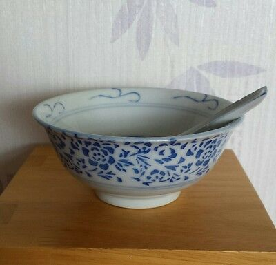 Vintage chinese rice bowl & spoon. flower design. blue& white. made in china.