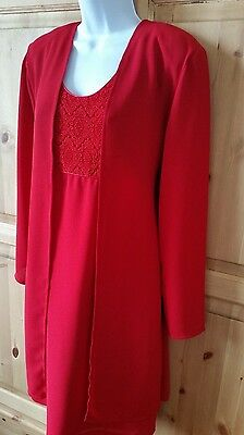 Windsmoor Mother Of The Bride Size 12 Red Dress Jacket Cruise Wedding Formal