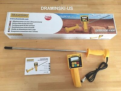 DRAMINSKI HMM Hay Moisture Meter Tester w/ Probe Digital LCD Display mfg SEPT 17