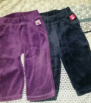 Sprout baby girls size 0 long pants, purple and blue, EUC