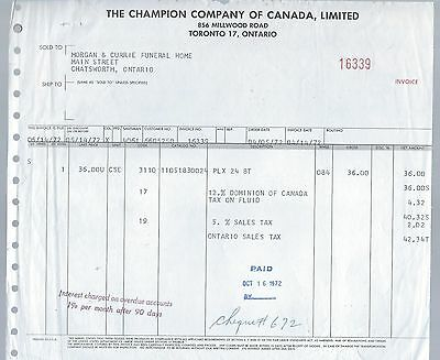 Funeral Home Invoice Champion Co. Of Canadada Ltd. Toronto Case Of Fluid  1972