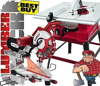 """Lumberjack 10"""" Bench Table Saw with Stand 305mm Sliding Compound Mitre Saw 240v"""