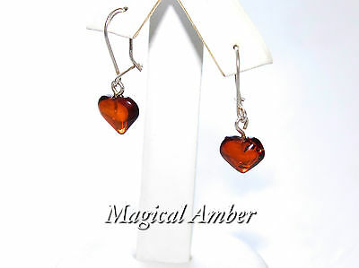 Natural Baltic Amber Hearts  Set Earrings With Pendant Sterling Silver 925