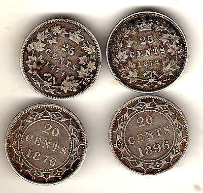 4 x canada,1872h,1874h 25 cents,new foundland 1876h,1896,20 cents