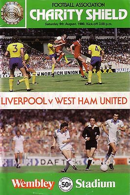 1980 CHARITY SHIELD LIVERPOOL v WEST HAM