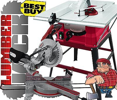 """Lumberjack 10"""" Bench Table Saw with Stand 254mm Sliding Compound Mitre Saw 240v"""