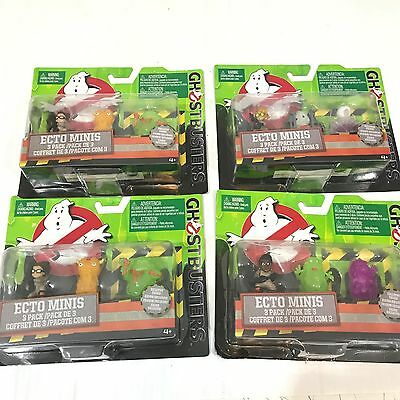 NEW Lot of 4 Ghostbusters Ecto Minis Figures 3 Pack UNOPENED Glow in the Dark