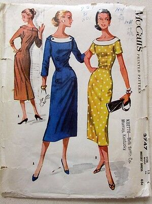 Vintage 1950's McCall's Dress Pattern 3747 Size 12 Bust 32