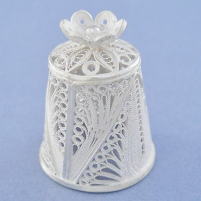 Silver 925 filigree thimble, filigree flower topper, 5.8g